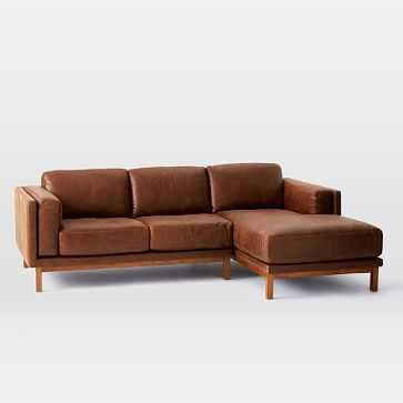 Dekalb Sectional, Left Arm Loveseat, Right Arm Chaise, Leather, Molasses, Pecan Legs - West Elm