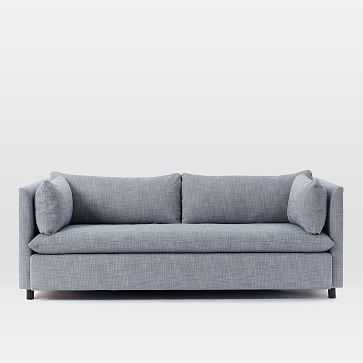 Shelter Sleeper Sofa, Yarn Dyed Linen Weave, Shelter Blue - West Elm
