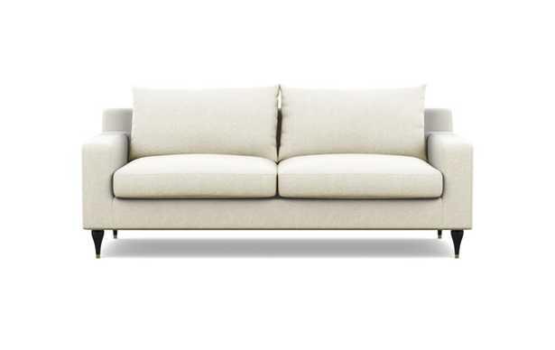 Sloan Sofa with Vanilla Fabric and Matte Black with Brass Cap legs - Interior Define