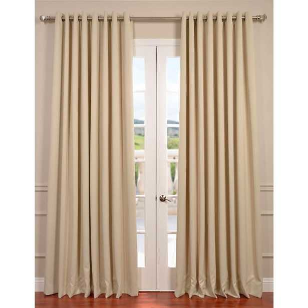 Exclusive Fabrics & Furnishings Semi-Opaque Eggnog Ivory Grommet Doublewide Blackout Curtain - 100 in. W x 84 in. L (1 Panel) - Home Depot