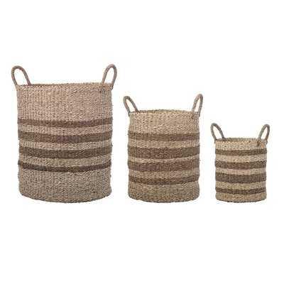 Natural Palm Leaf Wicker 3 Piece Basket Set with Handles - Birch Lane