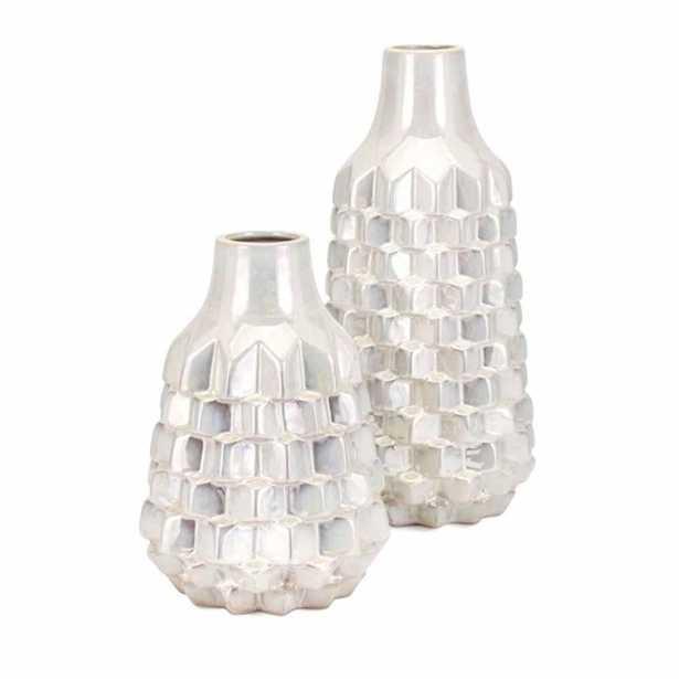 IMAX Karina White Vases (Set of 2) - Home Depot