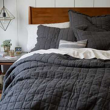 Belgian Linen Quilt, Full/Queen, Slate - West Elm