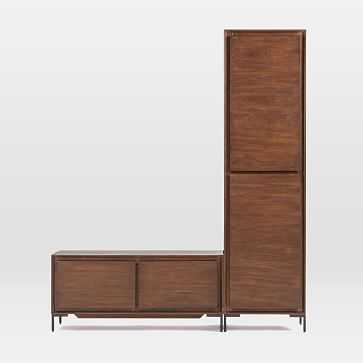 Nolan Collection Dark Walnut/Antique Bronze Closed Cabinet + Bench - West Elm