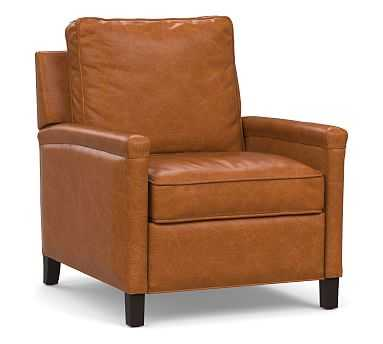 Tyler Square Arm Leather Recliner without Nailheads, Down Blend Wrapped Cushions, Vintage Caramel - Pottery Barn