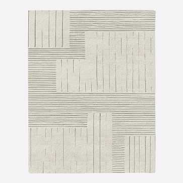 MTO Painted Mixed Stripes Rug, Ivory, 10x14 - West Elm
