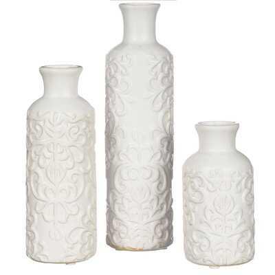 Smiley Scroll Embossed Ceramic 3 Piece Table Vase Set - Wayfair