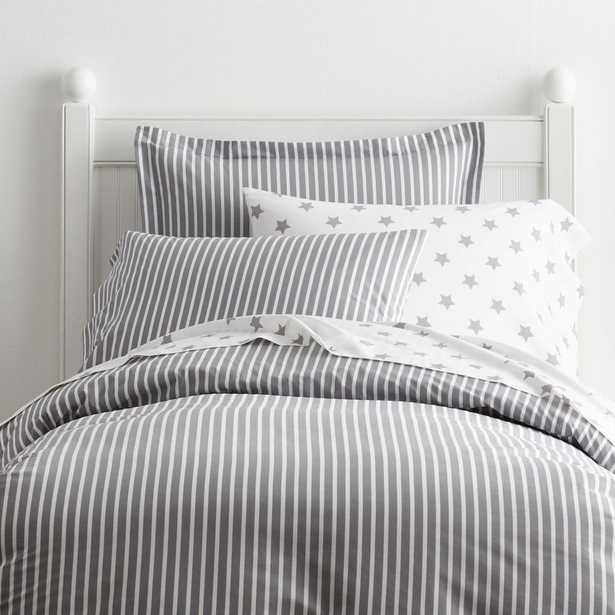 Aiden Stripe Cotton Percale Gray Full Duvet Cover - Home Depot