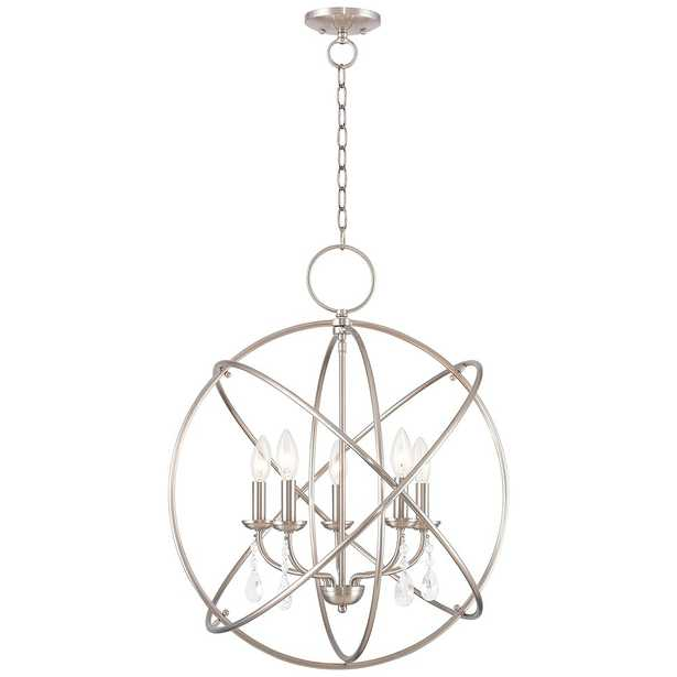 """Aria 22"""" Wide Brushed Nickel 5-Light Chandelier - Style # 55J23 - Lamps Plus"""