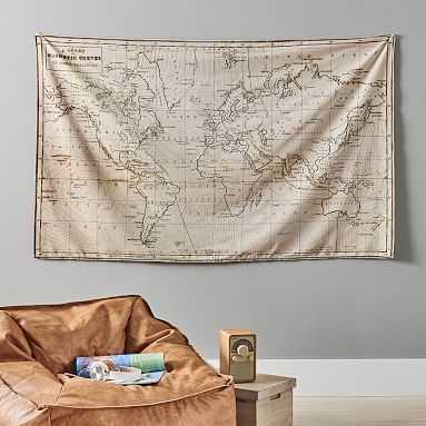 "Vintage Atlas Tapestry, 70""x44.5"", Sepia - Pottery Barn Teen"