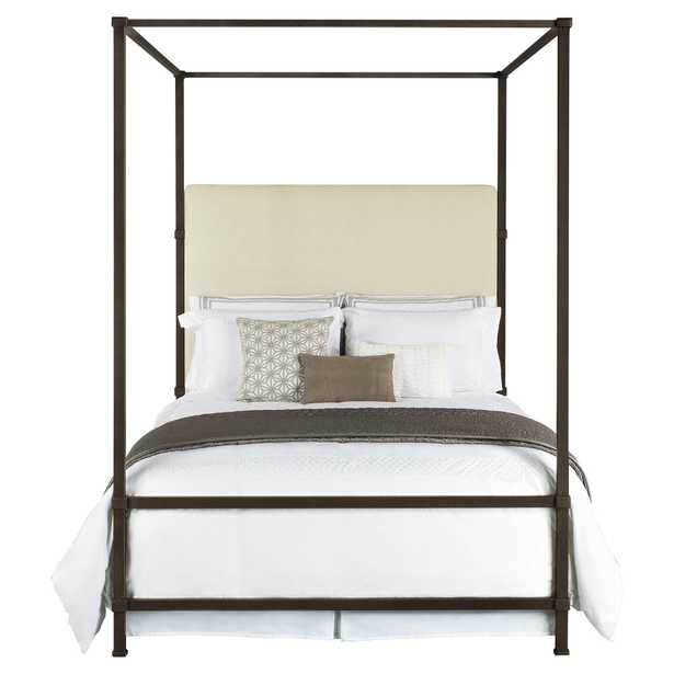 Quade Upholstered Iron Canopy Four Poster Bed - Queen - Kathy Kuo Home