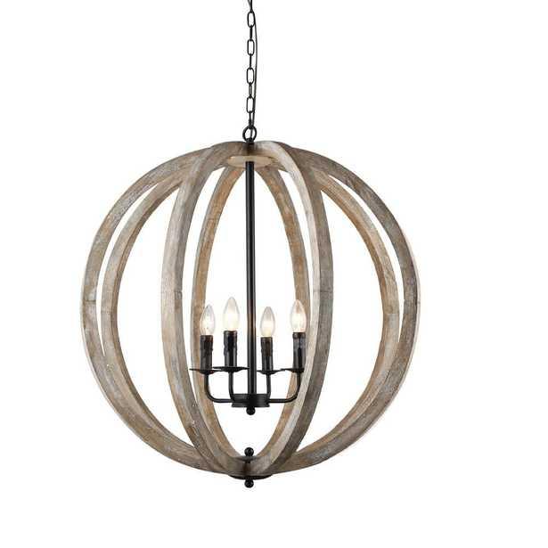 Capoli 4-Light Wooden Orb Neutral Chandelier - Home Depot