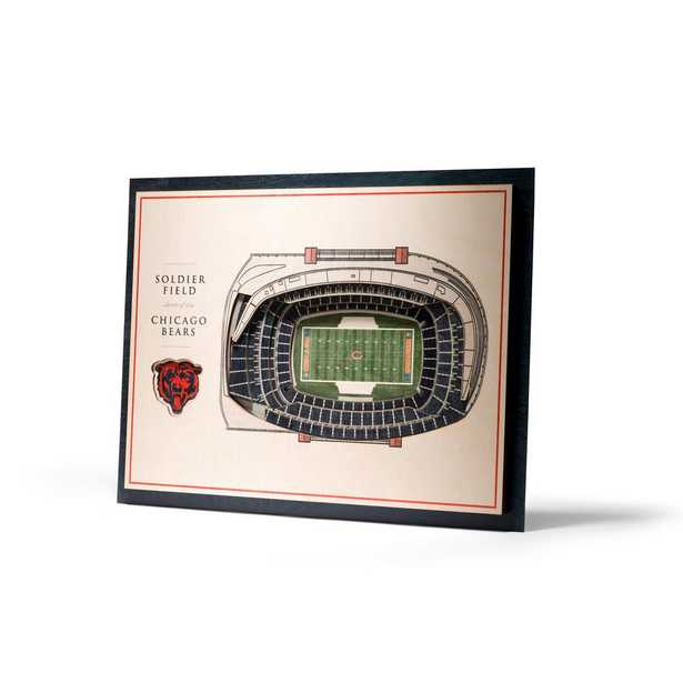 YouTheFan NFL Chicago Bears 5-Layer Stadiumviews 3D Wooden Wall Art, Multi-Colored - Home Depot