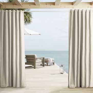 """Outdoor Solid Curtain, Natural, 48""""x124"""" - West Elm"""