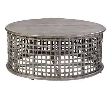 Open Weave Rattan Round Coffee Table, Gray - Pottery Barn