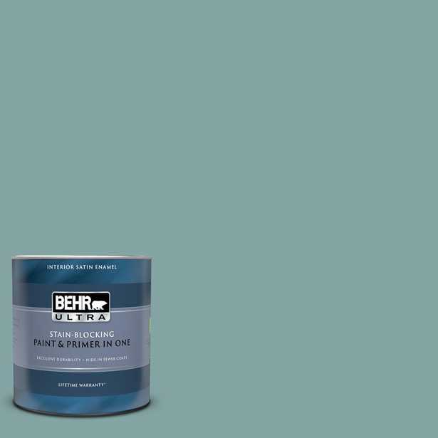 BEHR ULTRA 1 qt. #PPU13-08 Venus Teal Satin Enamel Interior Paint and Primer in One - Home Depot