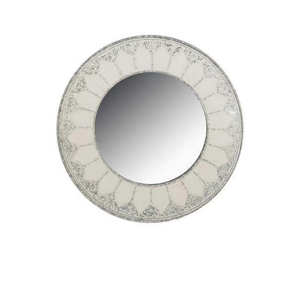 Round Distressed Ivory Decorative Mirror - Home Depot