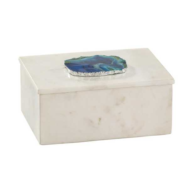 7 in. x 3 in. Marble and Blue Agate Decorative Box, Whites - Home Depot