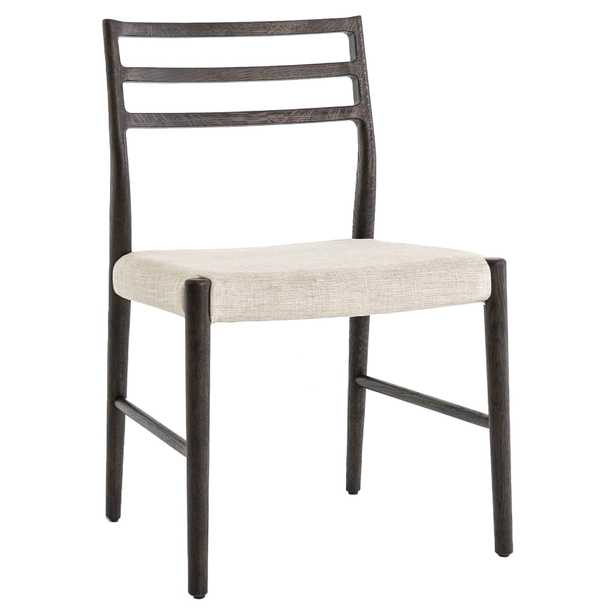 George Modern Classic Beige Upholstered Ladder Back Wood Dining Chair - Kathy Kuo Home