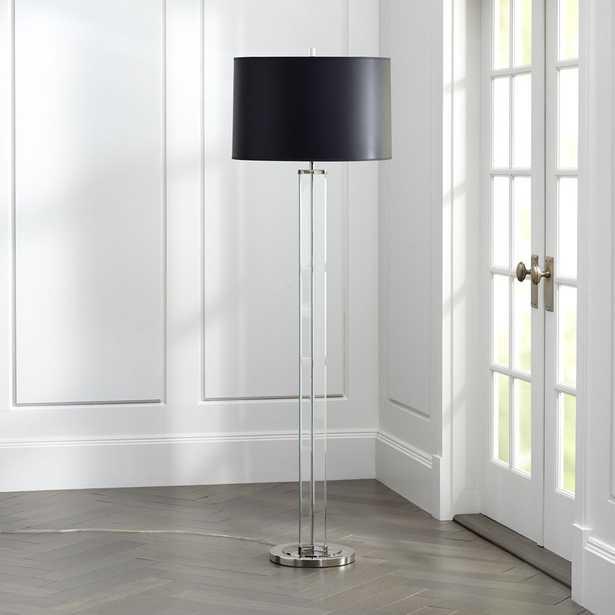 Gleam Crystal/Nickel Black Shade Floor Lamp - Crate and Barrel