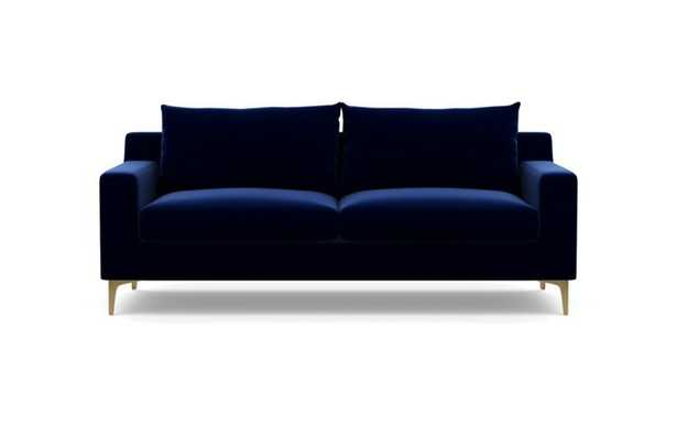 Sloan Sofa with Oxford Blue Fabric and Brass Plated legs - Interior Define