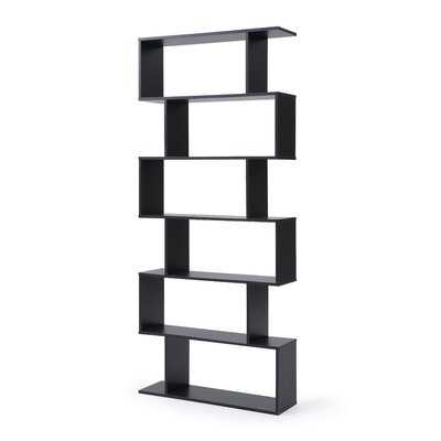 Deboer Staggered 6 Shelf Geometric Bookcase - Wayfair