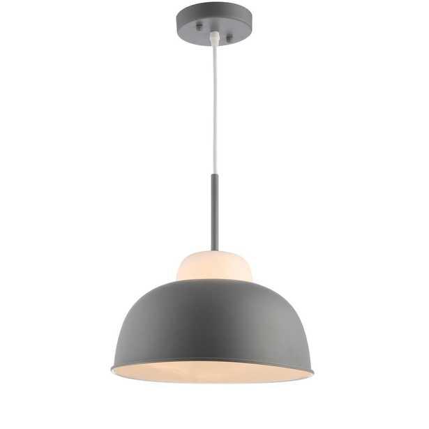JONATHAN Y Simon 12 in. 1-Light Gray LED Pendant with Adjustable Metal/Glass - Home Depot
