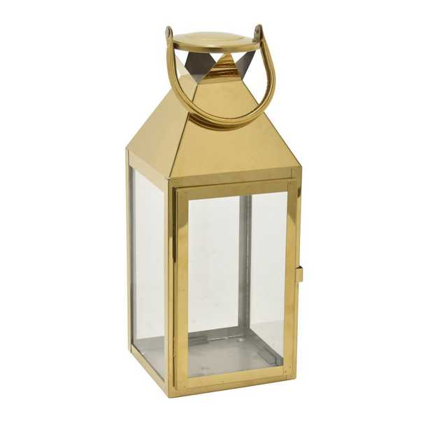 THREE HANDS CORP 14.5 in. Gold Metal Decorative Lantern - Home Depot