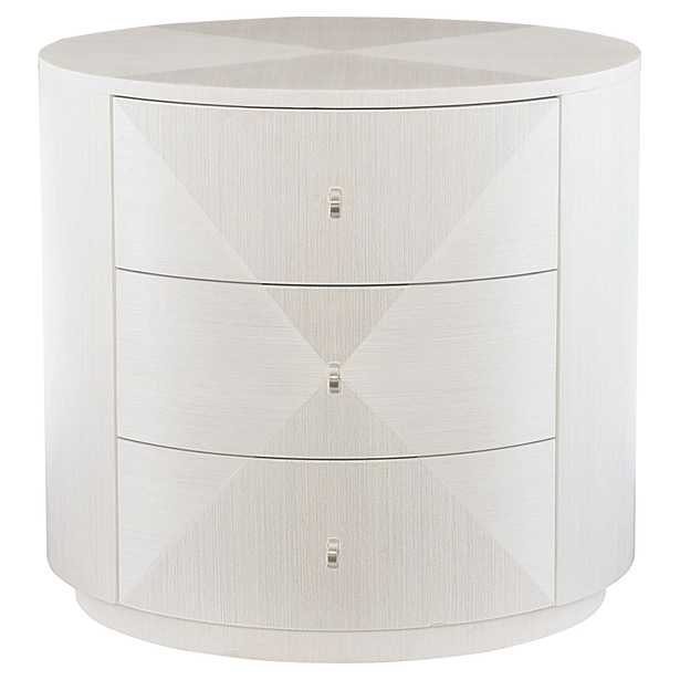 Lucille Modern Classic Round Grey Wood Three Drawer Nightstand Side Table - Kathy Kuo Home