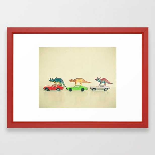 Dinosaurs Ride Cars Framed Art Print by Cassiabeck - Society6