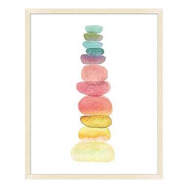 "Rainbow Stacking Stones Framed Art, Natural Frame, 20""x25"" - Pottery Barn Teen"