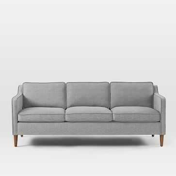 """Hamilton Upholstered 81"""" Sofa, Deco Weave, Feather Gray - West Elm"""