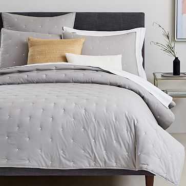 Organic Washed Cotton Quilt, Full/Queen, Platinum - West Elm