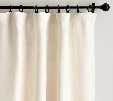 "Belgian Flax Linen Drape, Blackout Lining, 50 x 84"", Ivory - Pottery Barn"