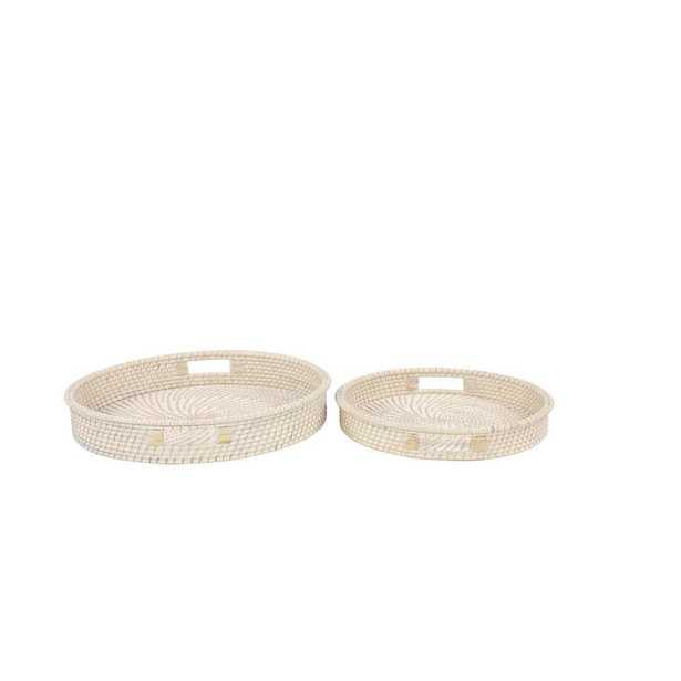 Litton Lane Round White Handwoven Bamboo Decorative Trays (Set of 2) - Home Depot