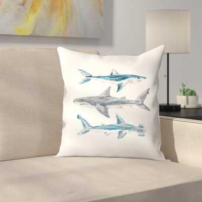 Jetty Printables Painted Shark Trio 1 Throw Pillow - Wayfair