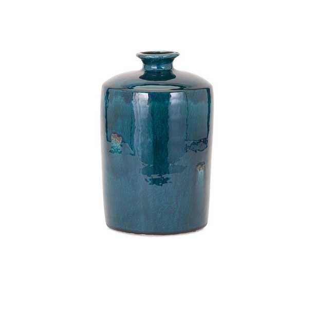 Imax Medium Blue Ceramic Decorative Vase - Home Depot