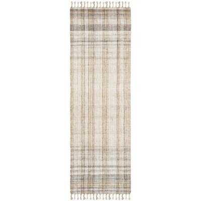 Jahi Plaid Handwoven Flatweave Wool Yellow/Beige Area Rug - Wayfair