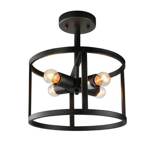 LNC 4-Light Black Drum Semi-Flush Mount Light - Home Depot