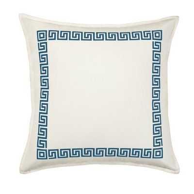 Dore Greek Key Cotton Canvas Throw Pillow - Wayfair