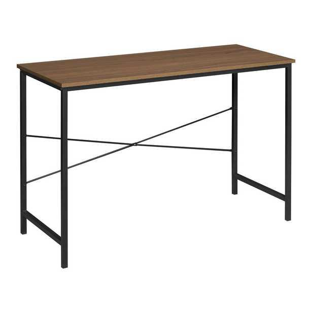 Soho Urban Walnut Computer Desk with Reinforced Black Metal Frame - Home Depot