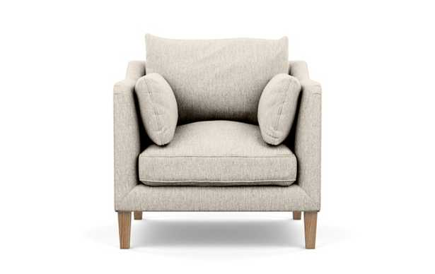 Caitlin by The Everygirl Petite Chair with Wheat Fabric and Natural Oak legs - Interior Define