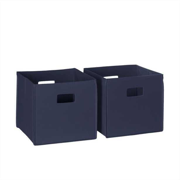 10.5 in. x 10 in. Folding Storage Bin Set in Navy (Blue) (2-Piece) - Home Depot