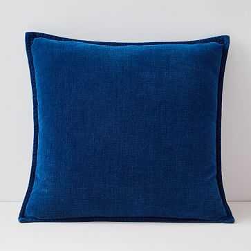 "Velvet Azure Pillow Cover, Set of 2, 20""x20"", Medium Washed - West Elm"