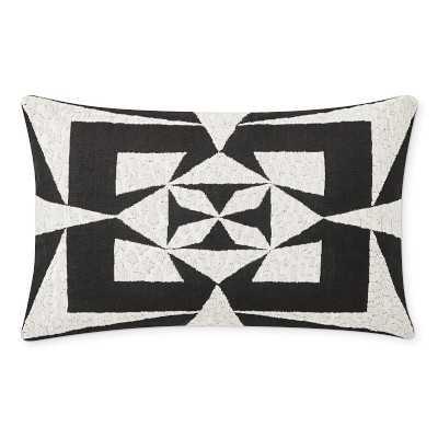 "Lyncort Zardozi Lumbar Pillow Cover, 14"" X 22"", Black - Williams Sonoma"