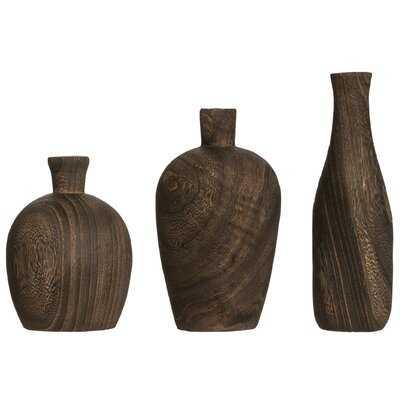 Weitzel Paulownia Wood 3 Piece Table Vase Set - Wayfair