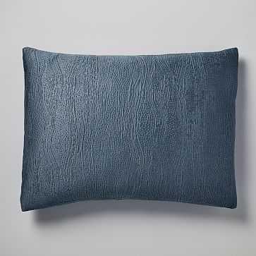 TENCEL Cotton Matelasse Standard Sham, Stormy Blue - West Elm