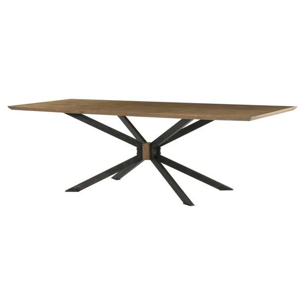 Samuel Modern Classic Rustic Black Spider Legs Sandy Brown Oak Dining Table - Large - Kathy Kuo Home