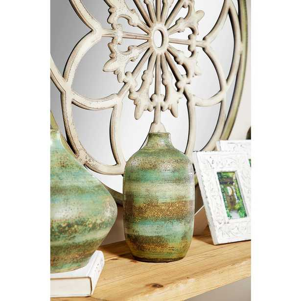 Litton Lane 12 in. Hand Painted Striped Brown and Green Decorative Vase - Home Depot