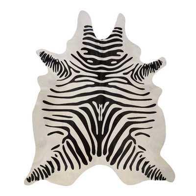 Stenciled Brazilian Cowhide Zebra Black/Off-White Area Rug - Wayfair